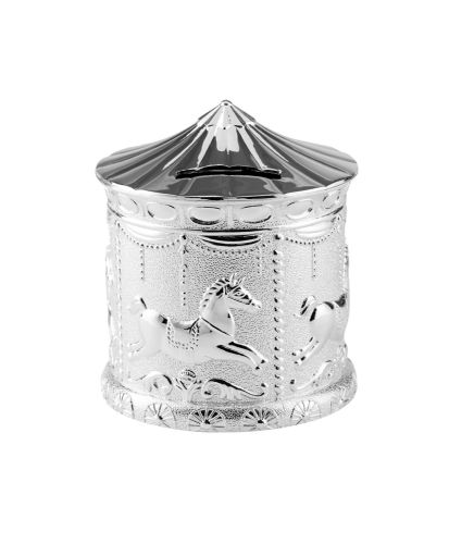 Silver Plated Carousel Money Box Christening Gift